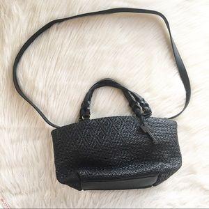 Fossil black basket weave woven straw purse bag